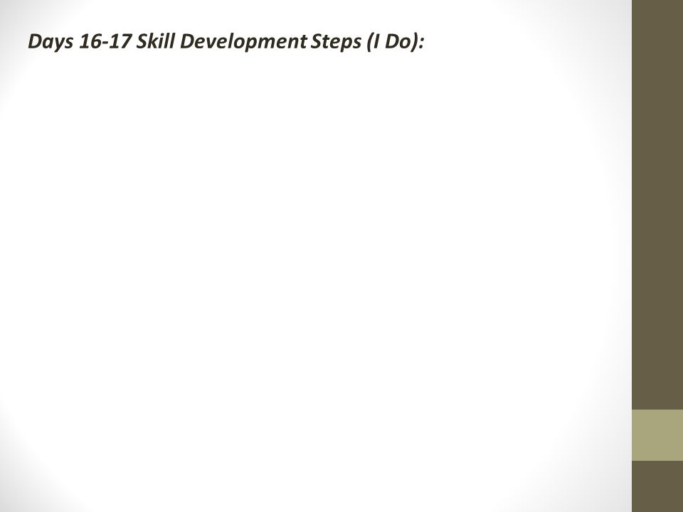 Days Skill Development Steps (I Do):
