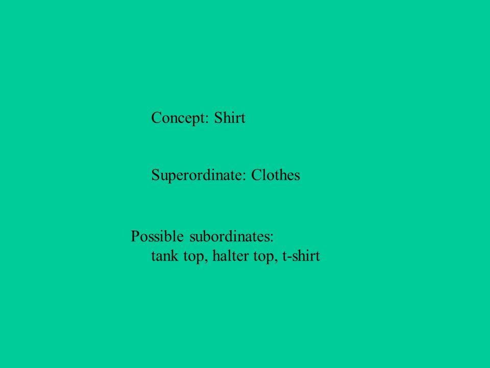 Concept: Shirt Superordinate: Clothes Possible subordinates: tank top, halter top, t-shirt