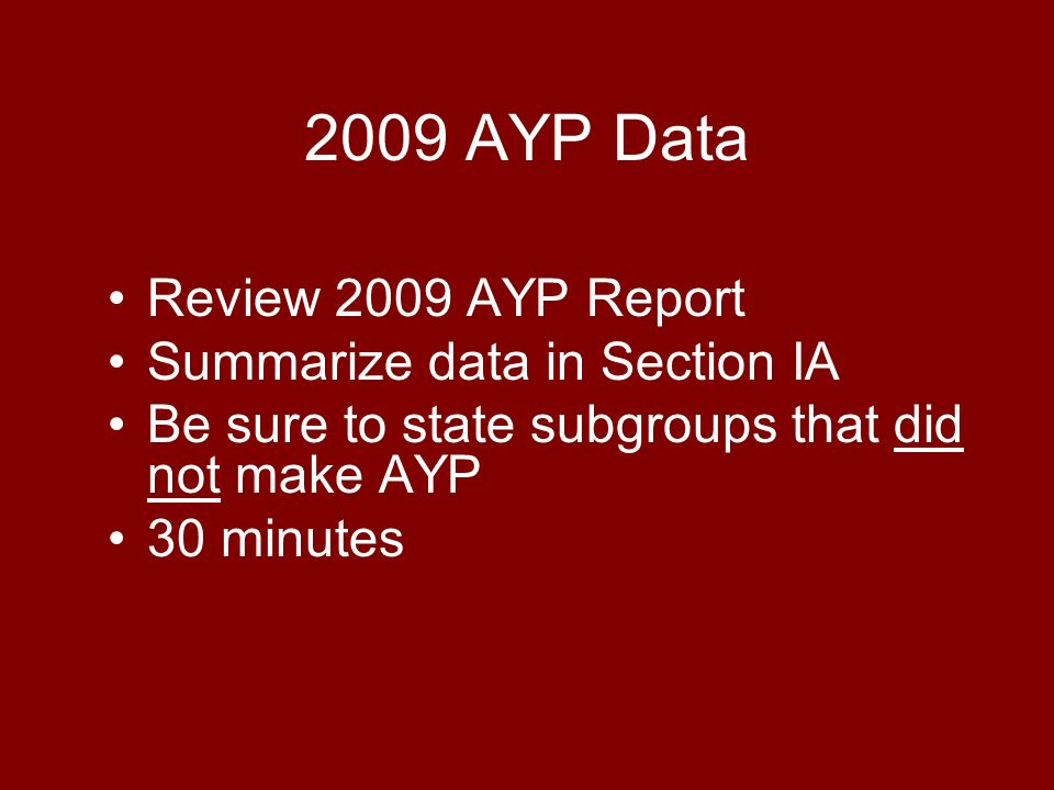 2009 AYP Data Review 2009 AYP Report Summarize data in Section IA Be sure to state subgroups that did not make AYP 30 minutes
