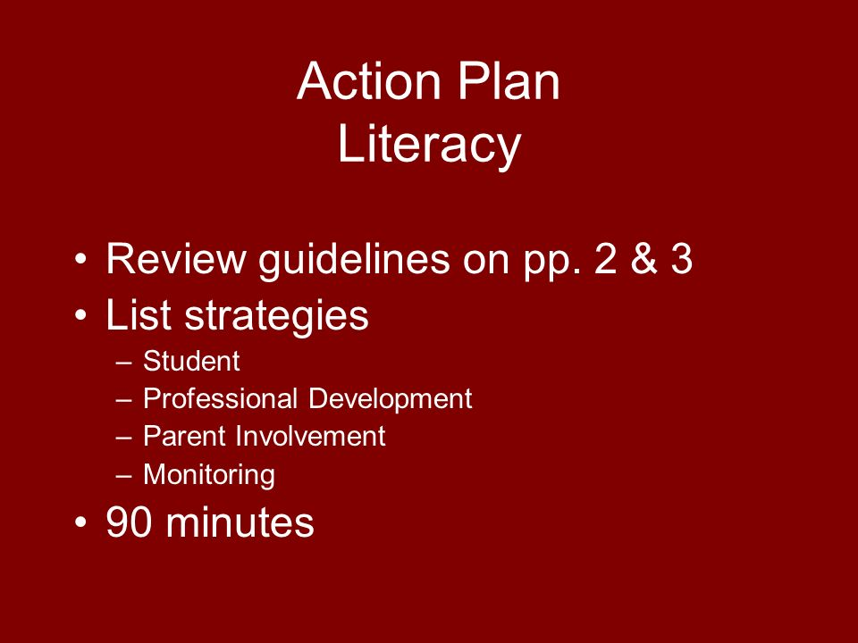 Action Plan Literacy Review guidelines on pp.