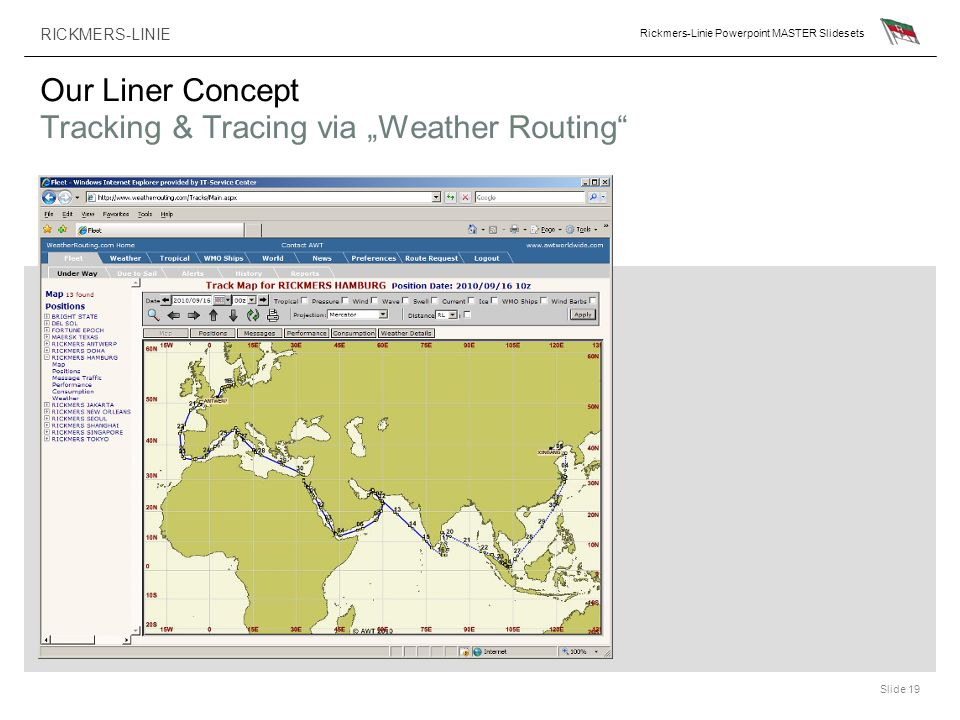 RICKMERS-LINIE Rickmers-Linie Powerpoint MASTER Slidesets Slide 19 Our Liner Concept Tracking & Tracing via Weather Routing
