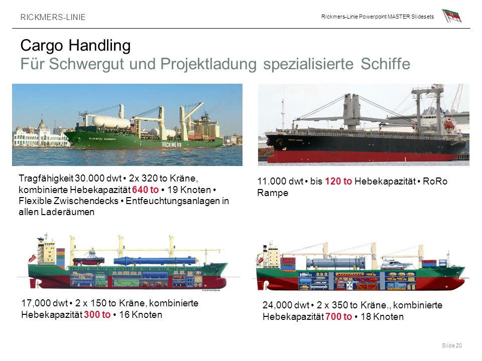 RICKMERS-LINIE Rickmers-Linie Powerpoint MASTER Slidesets Slide 20 Cargo Handling Für Schwergut und Projektladung spezialisierte Schiffe Tragfähigkeit