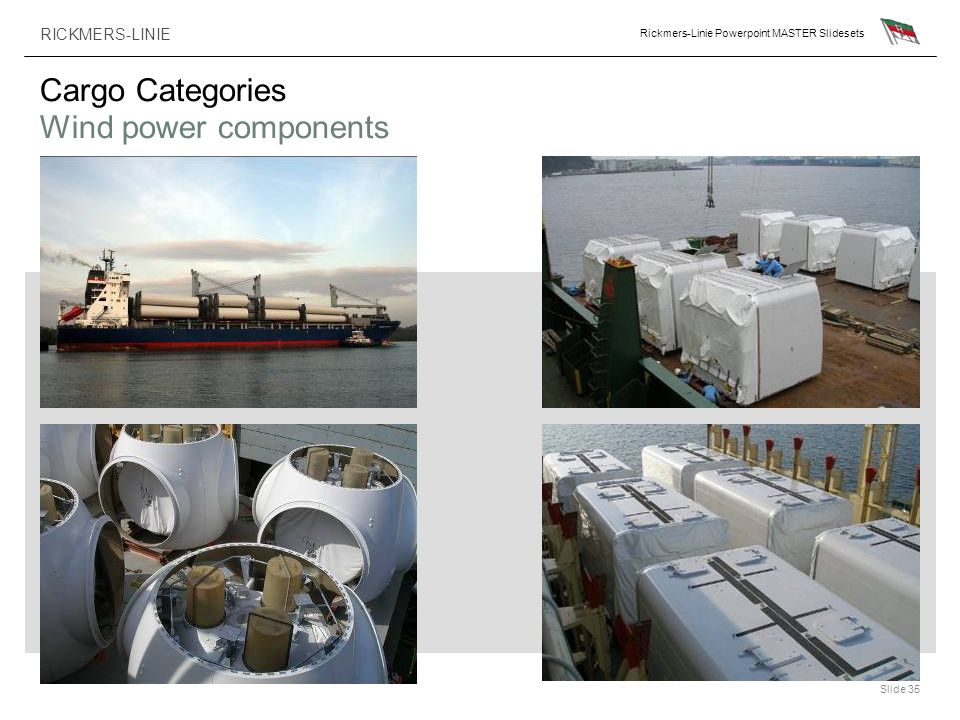 RICKMERS-LINIE Rickmers-Linie Powerpoint MASTER Slidesets Slide 35 Cargo Categories Wind power components