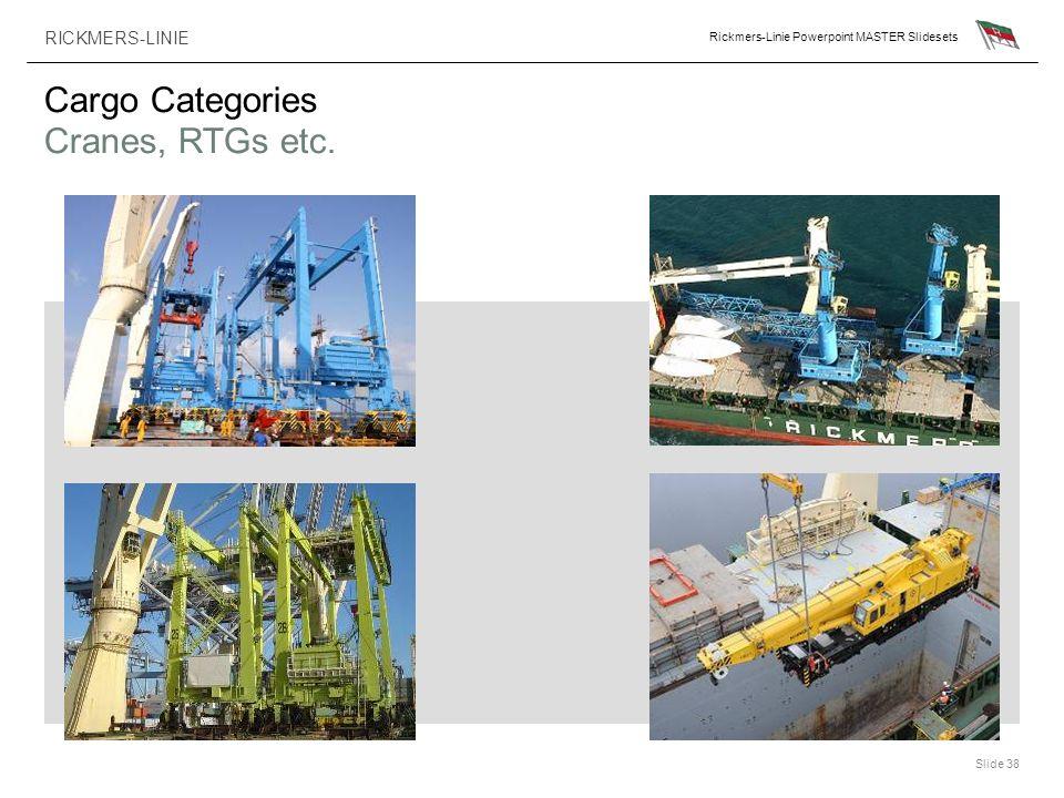 RICKMERS-LINIE Rickmers-Linie Powerpoint MASTER Slidesets Slide 38 Cargo Categories Cranes, RTGs etc.