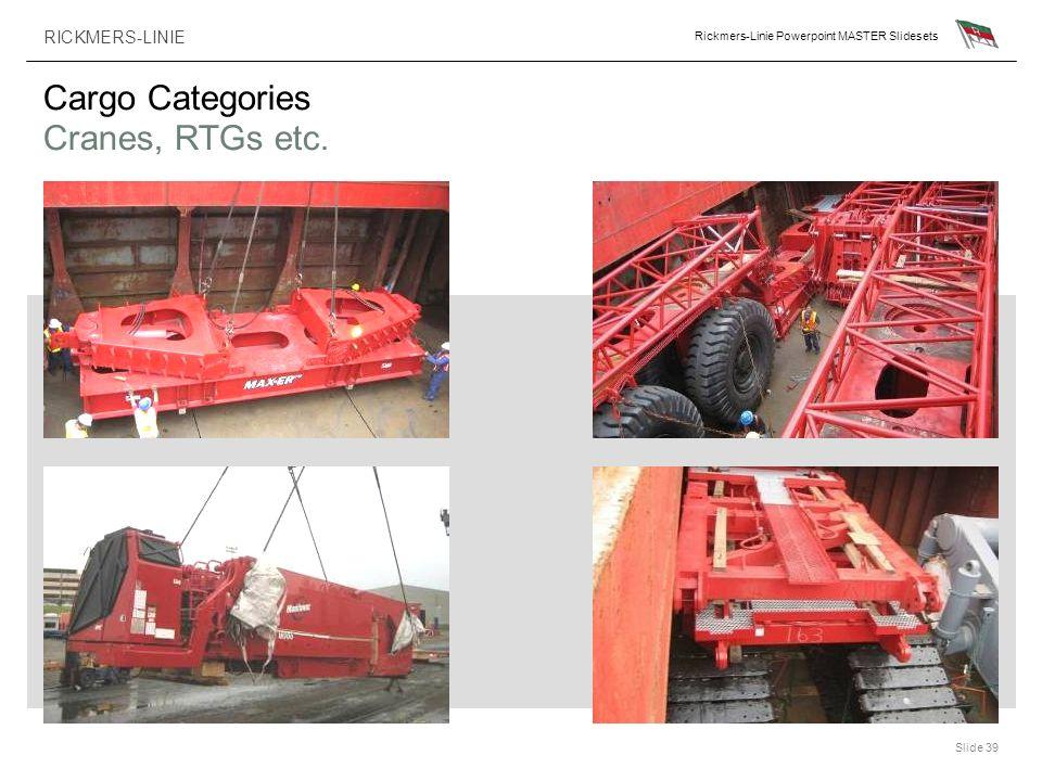 RICKMERS-LINIE Rickmers-Linie Powerpoint MASTER Slidesets Slide 39 Cargo Categories Cranes, RTGs etc.