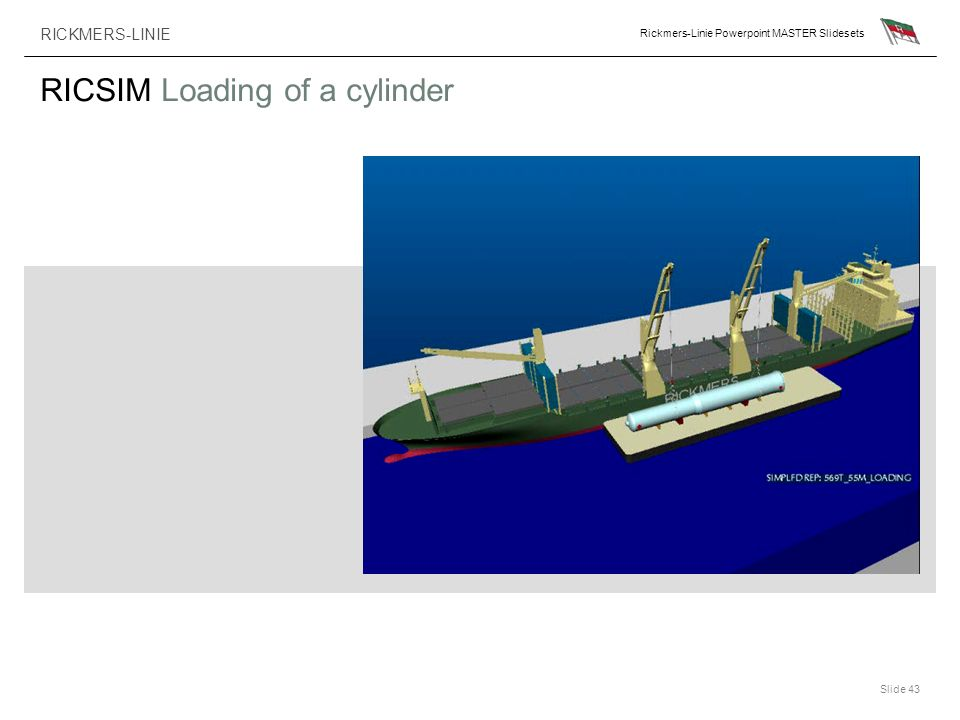 RICKMERS-LINIE Rickmers-Linie Powerpoint MASTER Slidesets Slide 43 RICSIM Loading of a cylinder