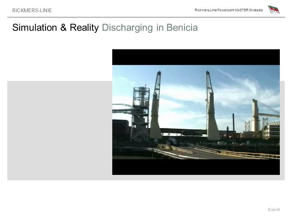 RICKMERS-LINIE Rickmers-Linie Powerpoint MASTER Slidesets Slide 45 Simulation & Reality Discharging in Benicia