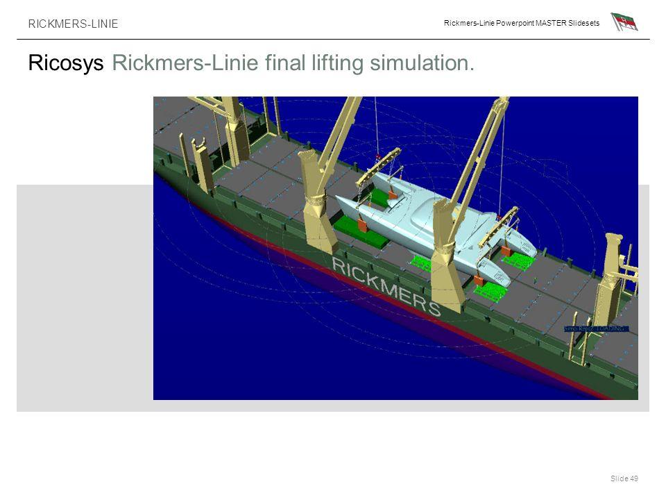 RICKMERS-LINIE Rickmers-Linie Powerpoint MASTER Slidesets Slide 49 Ricosys Rickmers-Linie final lifting simulation.
