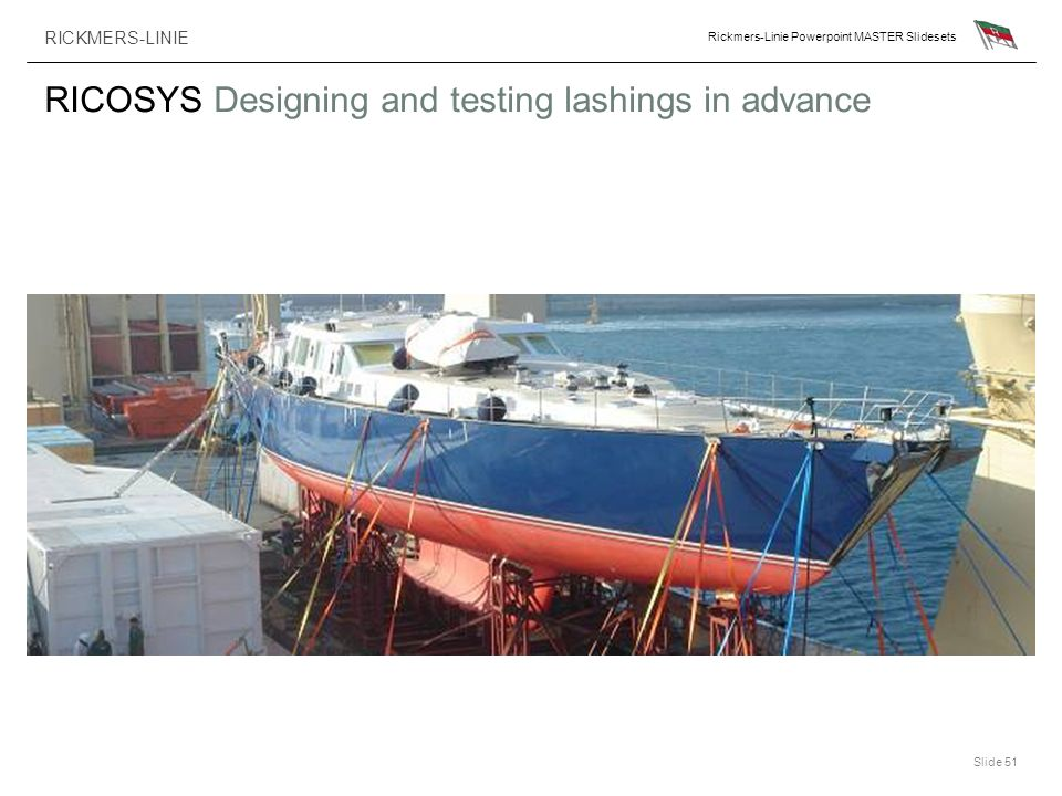 RICKMERS-LINIE Rickmers-Linie Powerpoint MASTER Slidesets Slide 51 RICOSYS Designing and testing lashings in advance