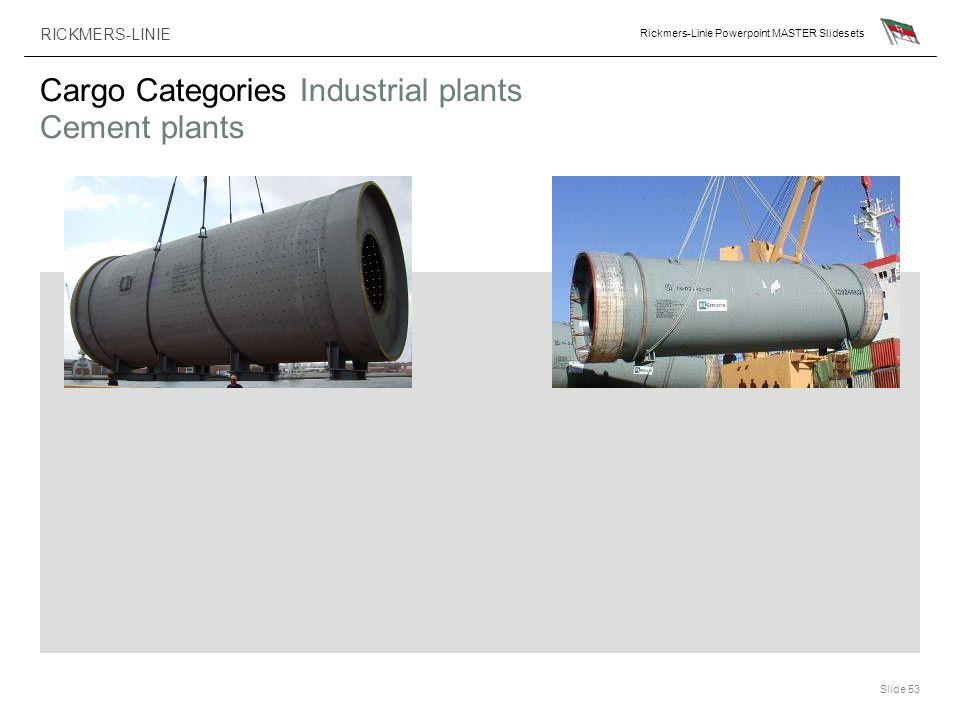 RICKMERS-LINIE Rickmers-Linie Powerpoint MASTER Slidesets Slide 53 Cargo Categories Industrial plants Cement plants