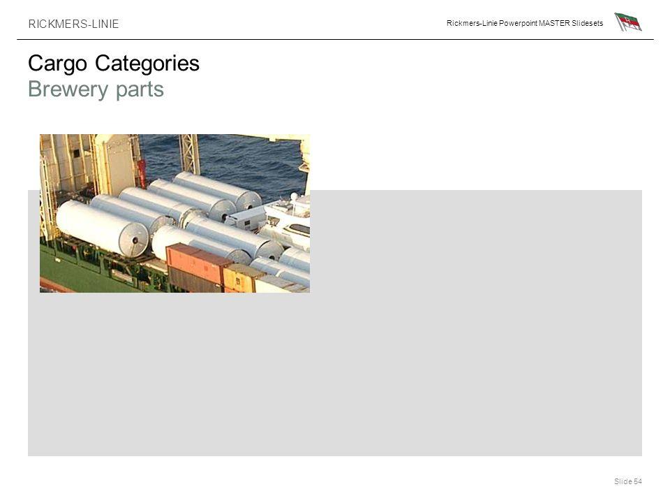 RICKMERS-LINIE Rickmers-Linie Powerpoint MASTER Slidesets Slide 54 Cargo Categories Brewery parts