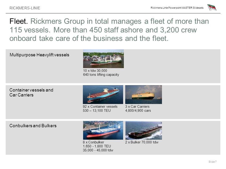 RICKMERS-LINIE Rickmers-Linie Powerpoint MASTER Slidesets Slide 7 Fleet. Rickmers Group in total manages a fleet of more than 115 vessels. More than 4