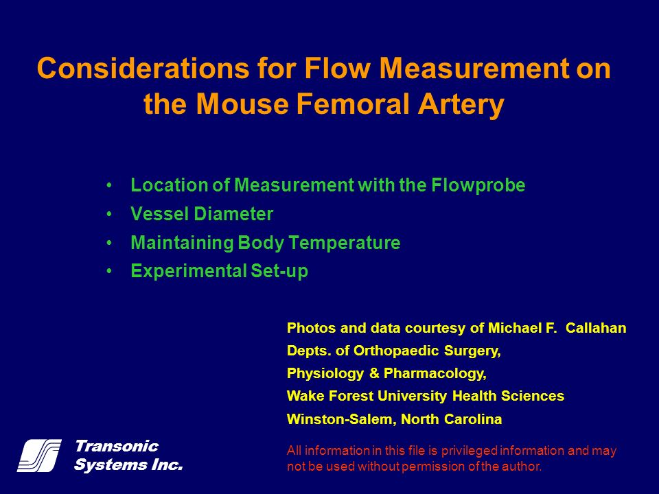 Transonic Systems Inc. Considerations for Flow Measurement on the Mouse Femoral Artery Location of Measurement with the Flowprobe Vessel Diameter Main
