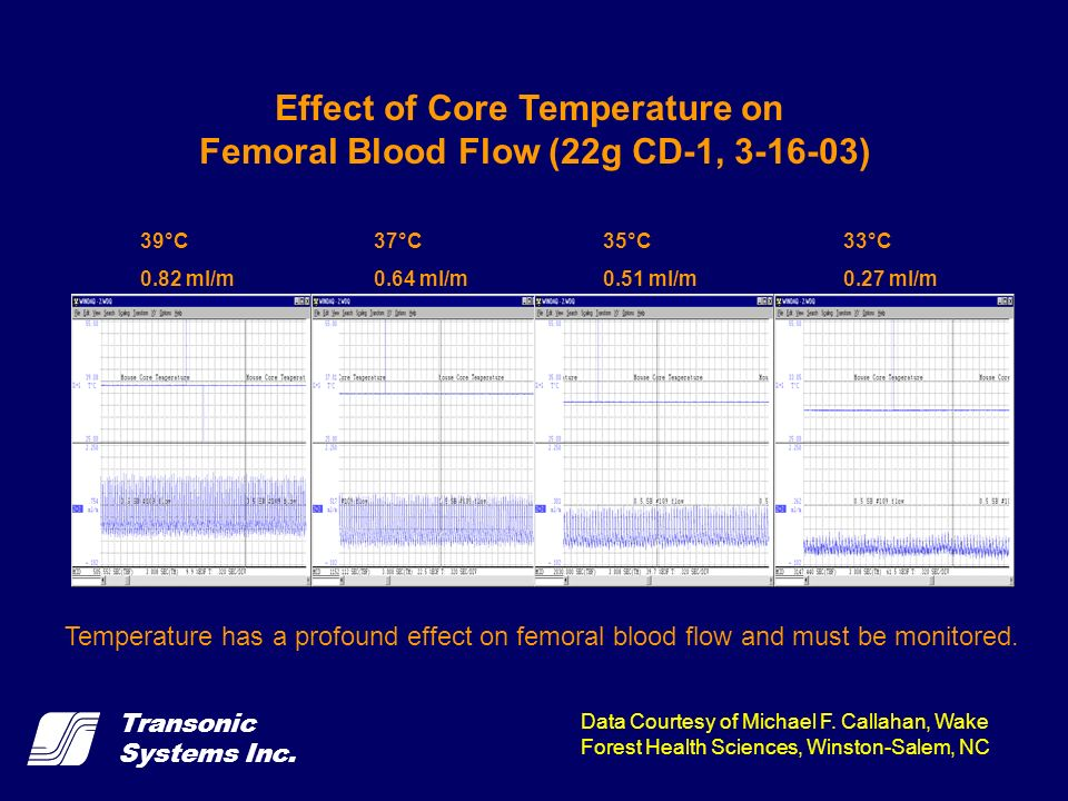 Transonic Systems Inc. 39°C 0.82 ml/m 37°C 0.64 ml/m 35°C 0.51 ml/m 33°C 0.27 ml/m Effect of Core Temperature on Femoral Blood Flow (22g CD-1, 3-16-03