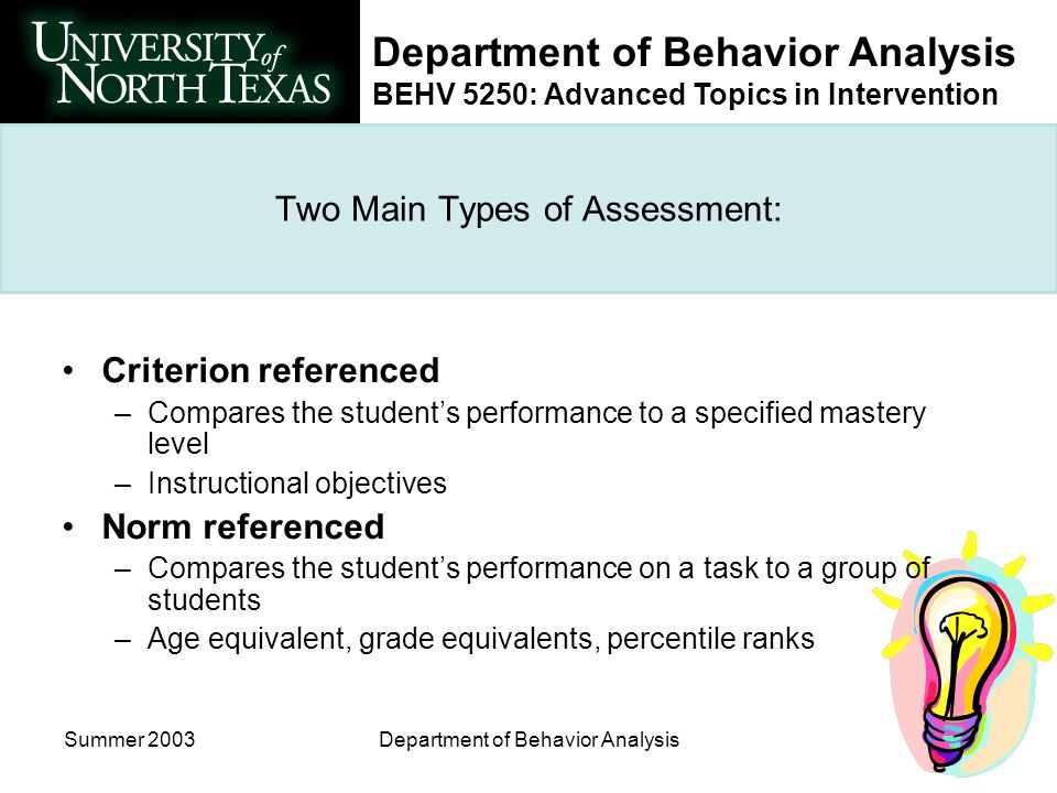 Department of Behavior Analysis BEHV 5250: Advanced Topics in Intervention Summer 2003Department of Behavior Analysis Two Main Types of Assessment: Criterion referenced –Compares the students performance to a specified mastery level –Instructional objectives Norm referenced –Compares the students performance on a task to a group of students –Age equivalent, grade equivalents, percentile ranks