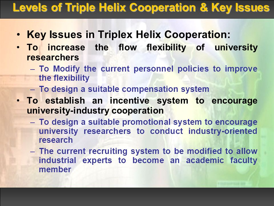 Key Issues in Triplex Helix Cooperation: To increase the flow flexibility of university researchers –To Modify the current personnel policies to improve the flexibility –To design a suitable compensation system To establish an incentive system to encourage university-industry cooperation –To design a suitable promotional system to encourage university researchers to conduct industry-oriented research –The current recruiting system to be modified to allow industrial experts to become an academic faculty member Levels of Triple Helix Cooperation & Key Issues