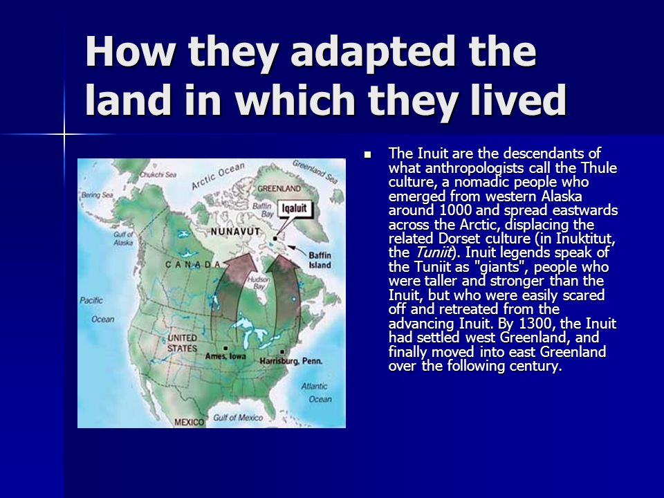 How they adapted the land in which they lived The Inuit are the descendants of what anthropologists call the Thule culture, a nomadic people who emerg