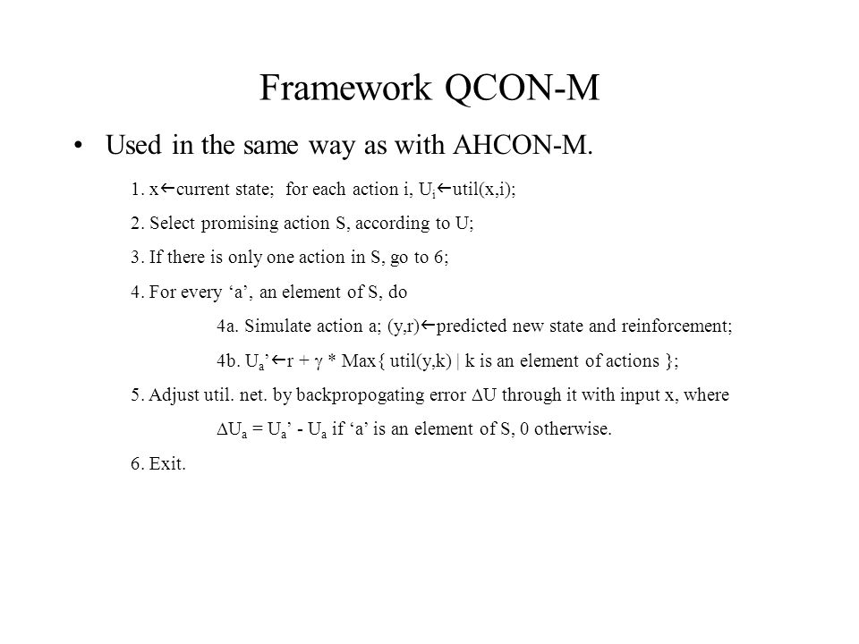 Framework QCON-M Used in the same way as with AHCON-M.