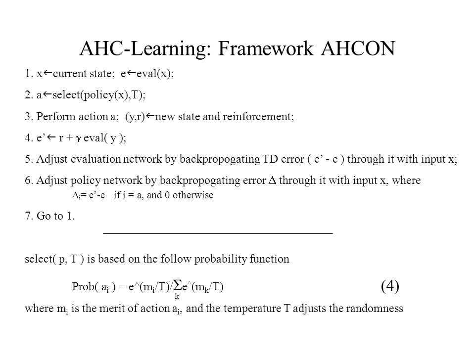 AHC-Learning: Framework AHCON 1. x current state; e eval(x); 2.
