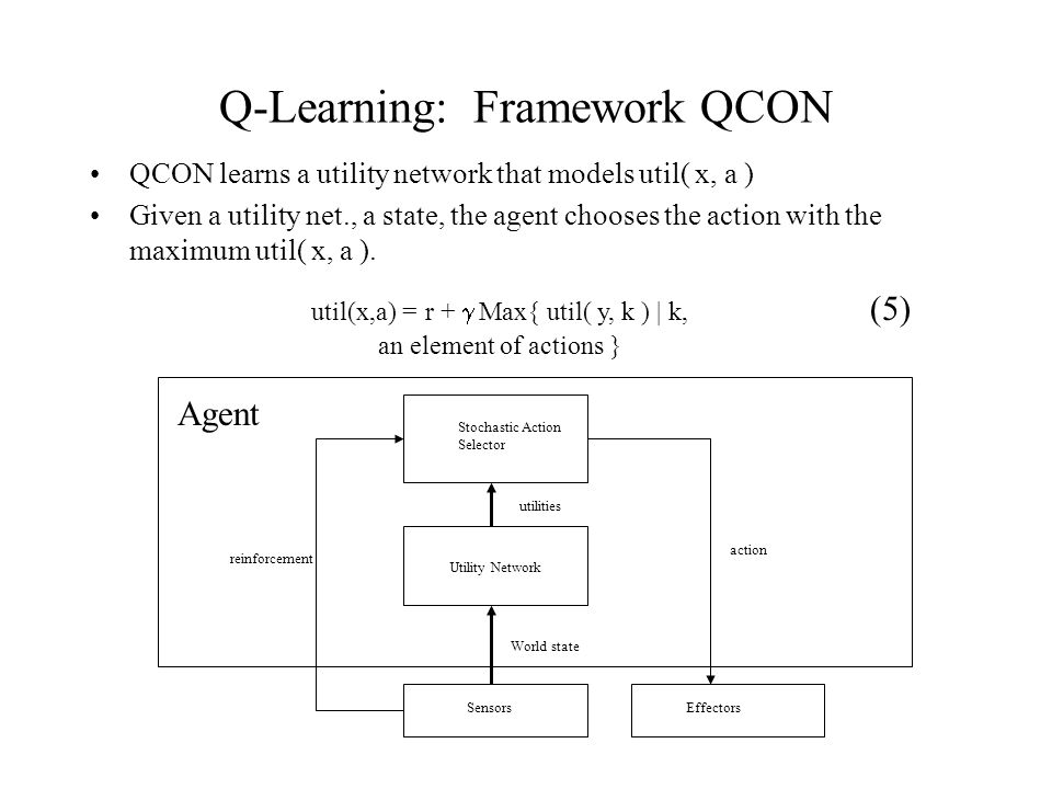 Q-Learning: Framework QCON QCON learns a utility network that models util( x, a ) Given a utility net., a state, the agent chooses the action with the maximum util( x, a ).