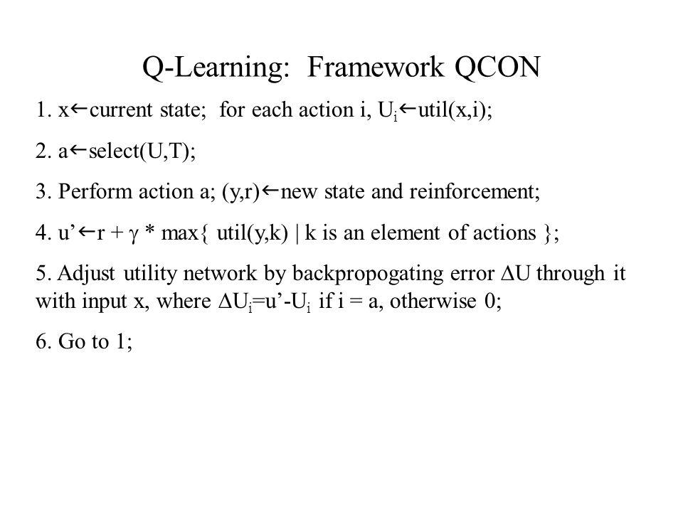 Q-Learning: Framework QCON 1. x current state; for each action i, U i util(x,i); 2.
