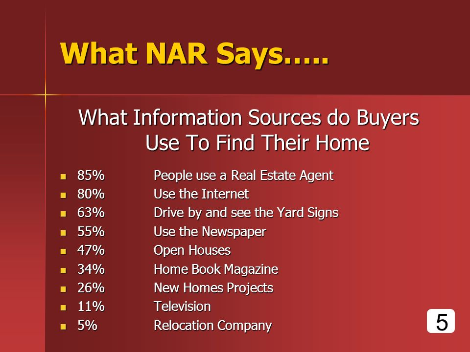 What NAR Says….. What Information Sources do Buyers Use To Find Their Home 85% People use a Real Estate Agent 85% People use a Real Estate Agent 80% U
