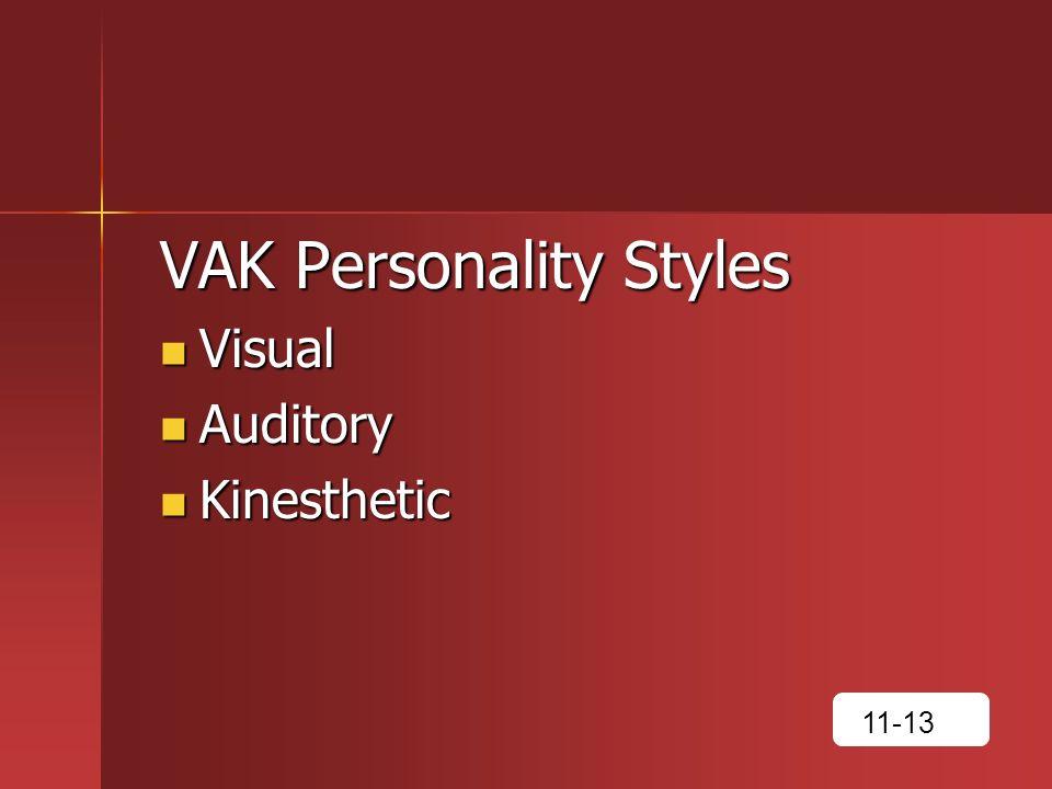 VAK Personality Styles Visual Visual Auditory Auditory Kinesthetic Kinesthetic 11-13