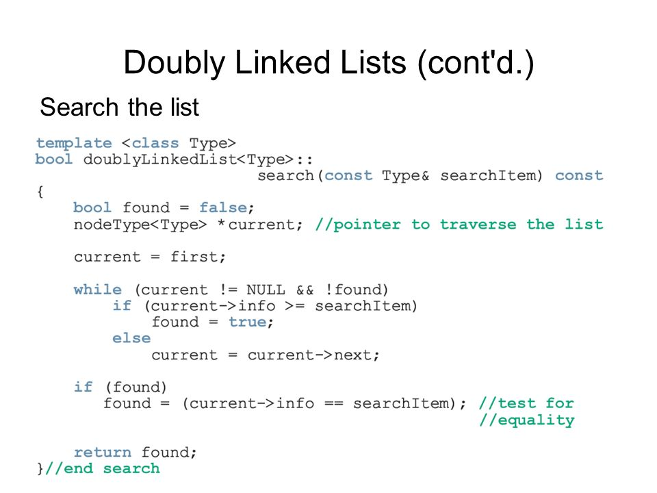 62 Search the list Doubly Linked Lists (cont'd.)