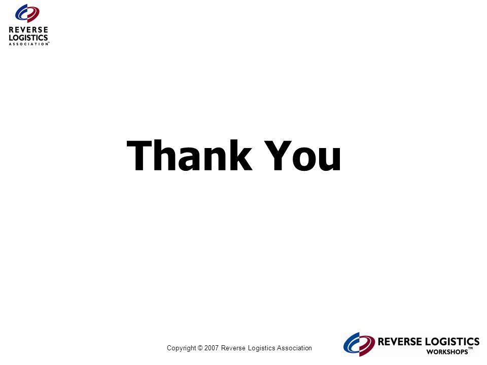 Copyright © 2007 Reverse Logistics Association Thank You