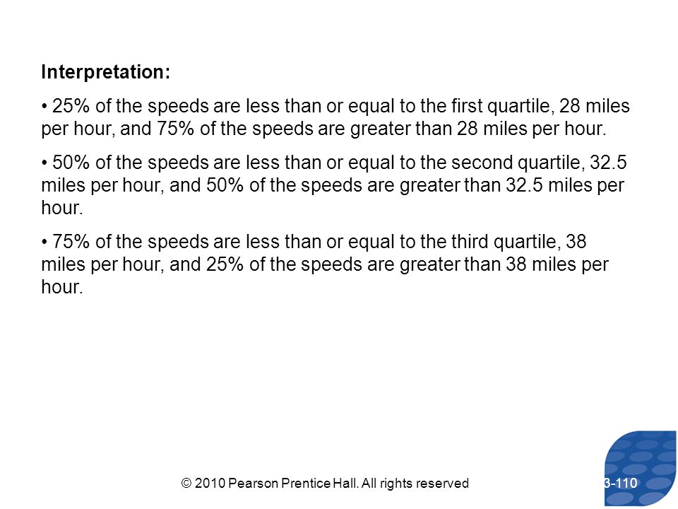 Interpretation: 25% of the speeds are less than or equal to the first quartile, 28 miles per hour, and 75% of the speeds are greater than 28 miles per