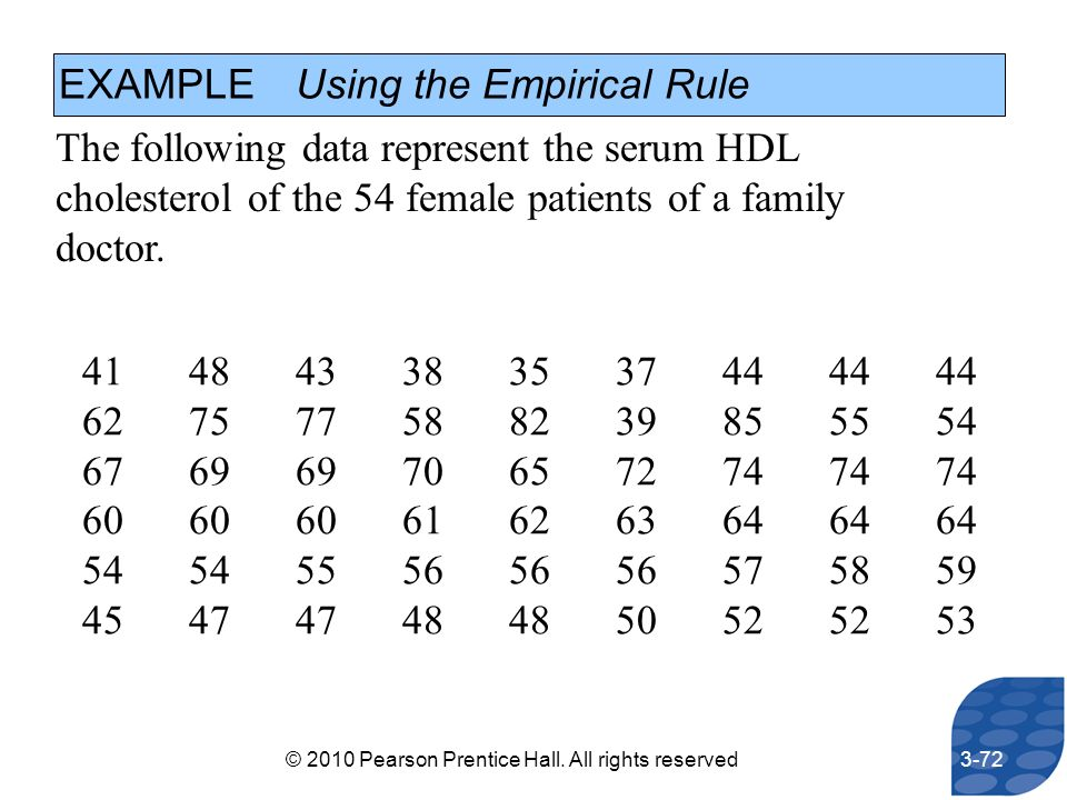 EXAMPLE Using the Empirical Rule The following data represent the serum HDL cholesterol of the 54 female patients of a family doctor. 4148433835374444
