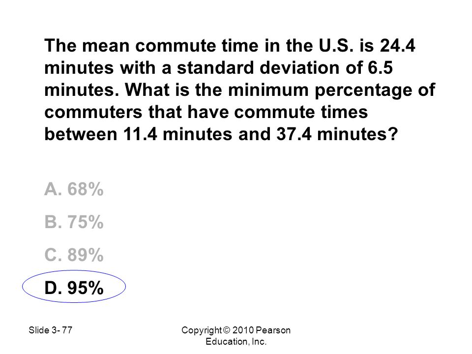 The mean commute time in the U.S. is 24.4 minutes with a standard deviation of 6.5 minutes. What is the minimum percentage of commuters that have comm