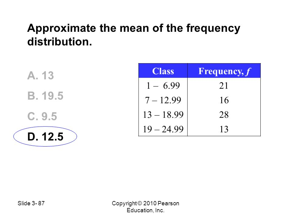 Approximate the mean of the frequency distribution. A. 13 B. 19.5 C. 9.5 D. 12.5 ClassFrequency, f 1 – 6.9921 7 – 12.9916 13 – 18.9928 19 – 24.9913 Co