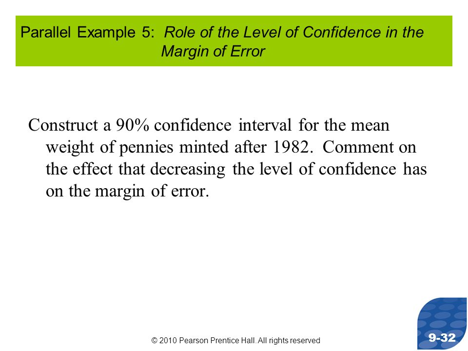 © 2010 Pearson Prentice Hall. All rights reserved 9-32 Parallel Example 5: Role of the Level of Confidence in the Margin of Error Construct a 90% conf