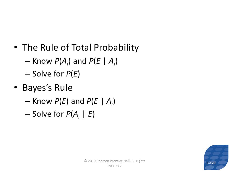 The Rule of Total Probability – Know P(A i ) and P(E | A i ) – Solve for P(E) Bayess Rule – Know P(E) and P(E | A i ) – Solve for P(A i | E) 5-129 © 2
