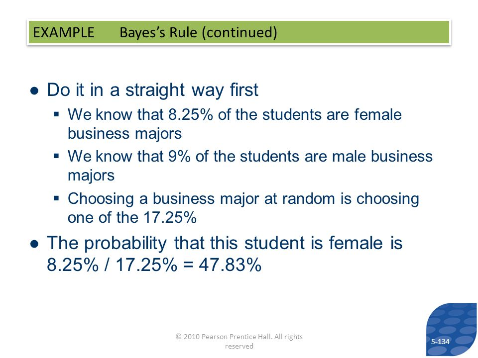 Do it in a straight way first We know that 8.25% of the students are female business majors We know that 9% of the students are male business majors Choosing a business major at random is choosing one of the 17.25% The probability that this student is female is 8.25% / 17.25% = 47.83% EXAMPLE Bayess Rule (continued) 5-134 © 2010 Pearson Prentice Hall.