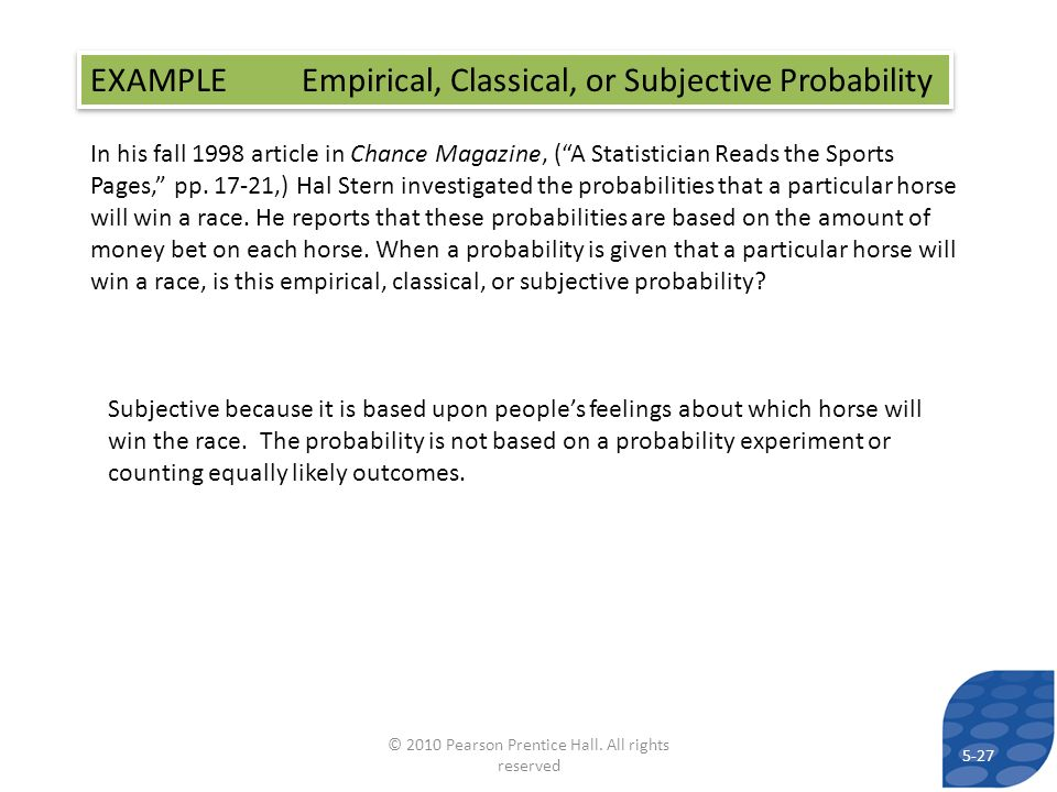 In his fall 1998 article in Chance Magazine, (A Statistician Reads the Sports Pages, pp. 17-21,) Hal Stern investigated the probabilities that a parti