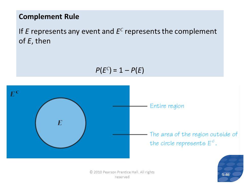 Complement Rule If E represents any event and E C represents the complement of E, then P(E C ) = 1 – P(E) 5-46 © 2010 Pearson Prentice Hall.