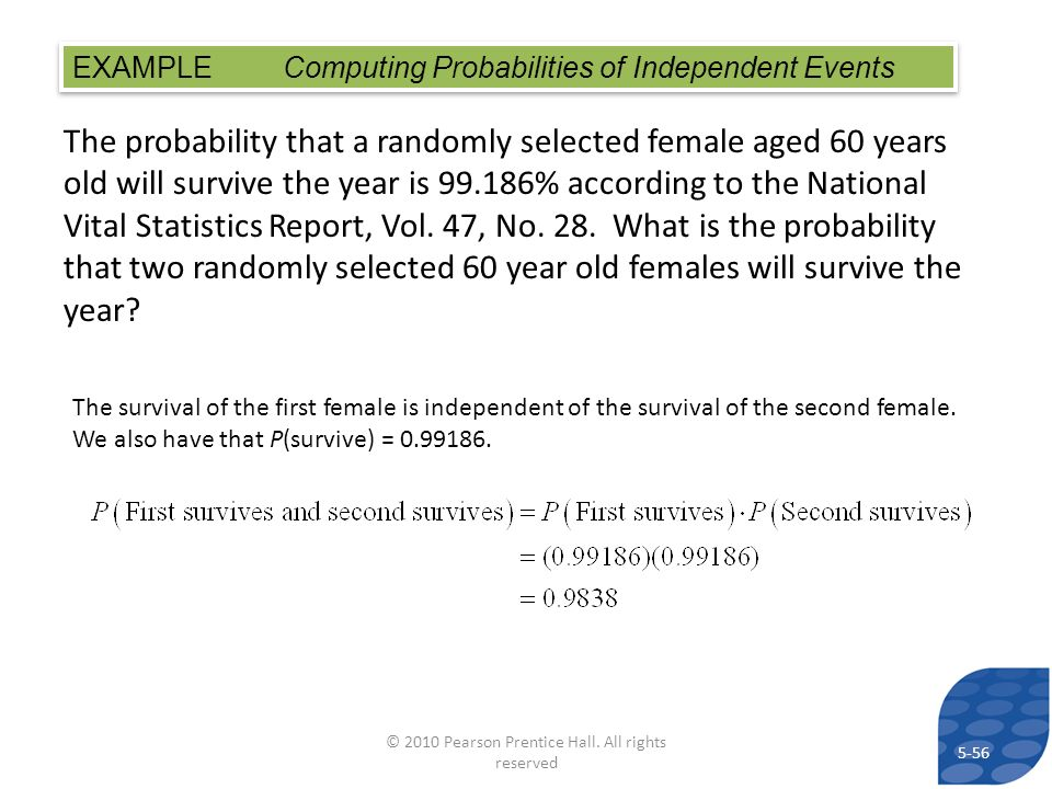 The probability that a randomly selected female aged 60 years old will survive the year is 99.186% according to the National Vital Statistics Report,