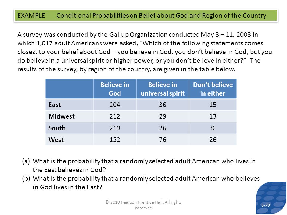 EXAMPLE Conditional Probabilities on Belief about God and Region of the Country A survey was conducted by the Gallup Organization conducted May 8 – 11