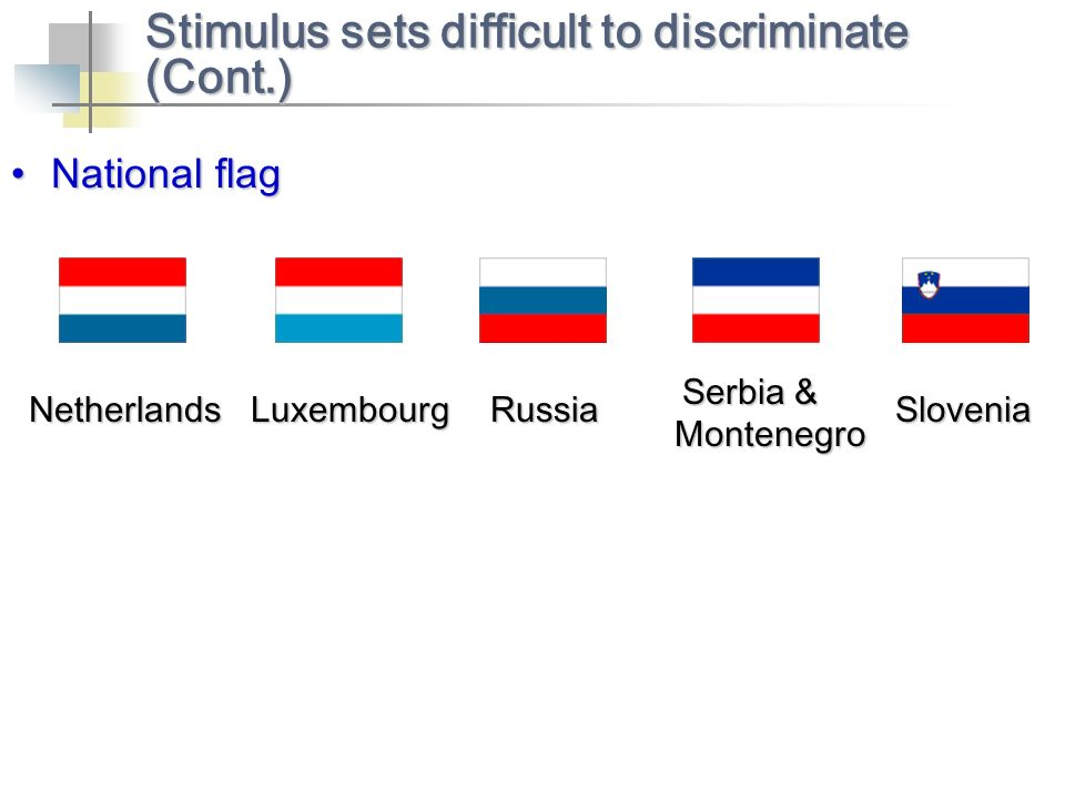 Stimulus sets difficult to discriminate (Cont.) NetherlandsLuxembourgRussia Serbia & Montenegro Slovenia National flagNational flag