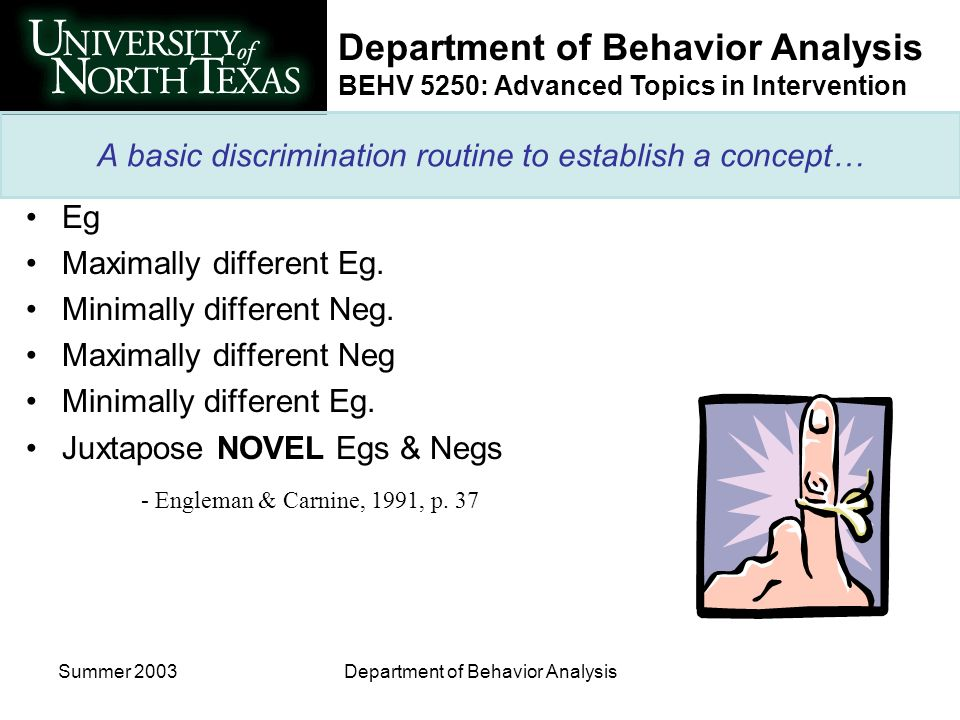 Department of Behavior Analysis BEHV 5250: Advanced Topics in Intervention Summer 2003Department of Behavior Analysis A basic discrimination routine t