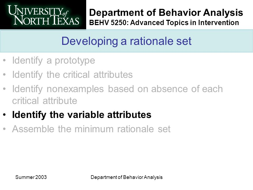 Department of Behavior Analysis BEHV 5250: Advanced Topics in Intervention Summer 2003Department of Behavior Analysis Developing a rationale set Ident
