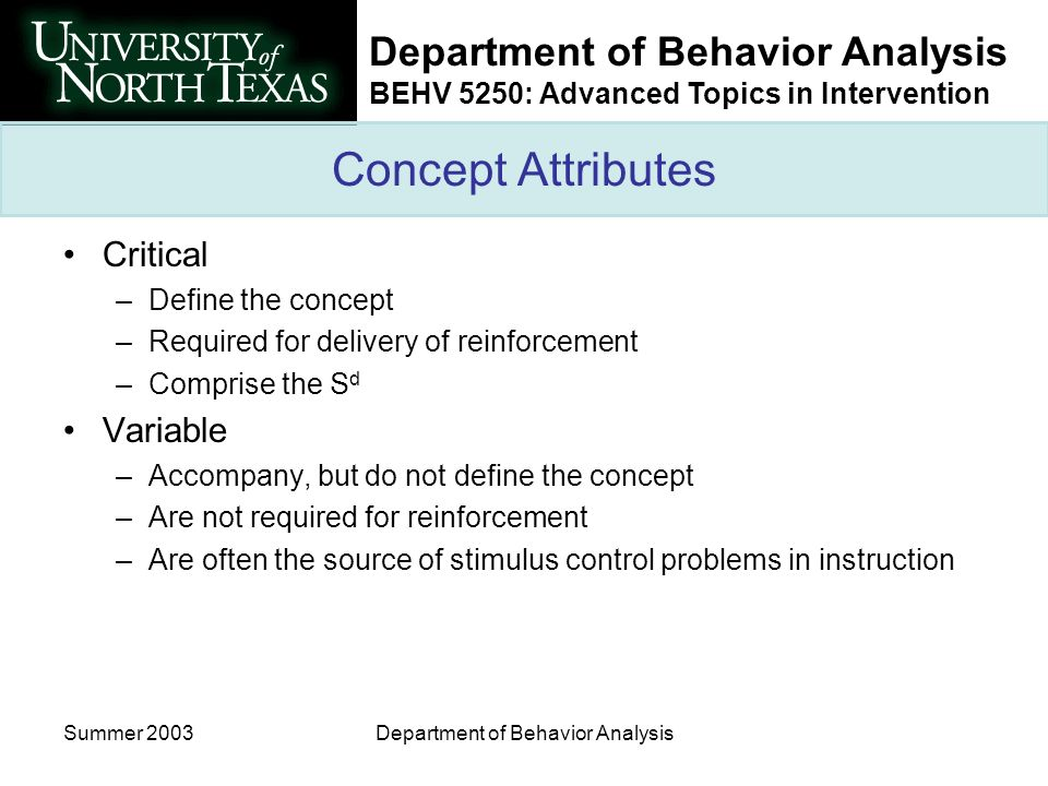 Department of Behavior Analysis BEHV 5250: Advanced Topics in Intervention Summer 2003Department of Behavior Analysis Concept Attributes Critical –Def