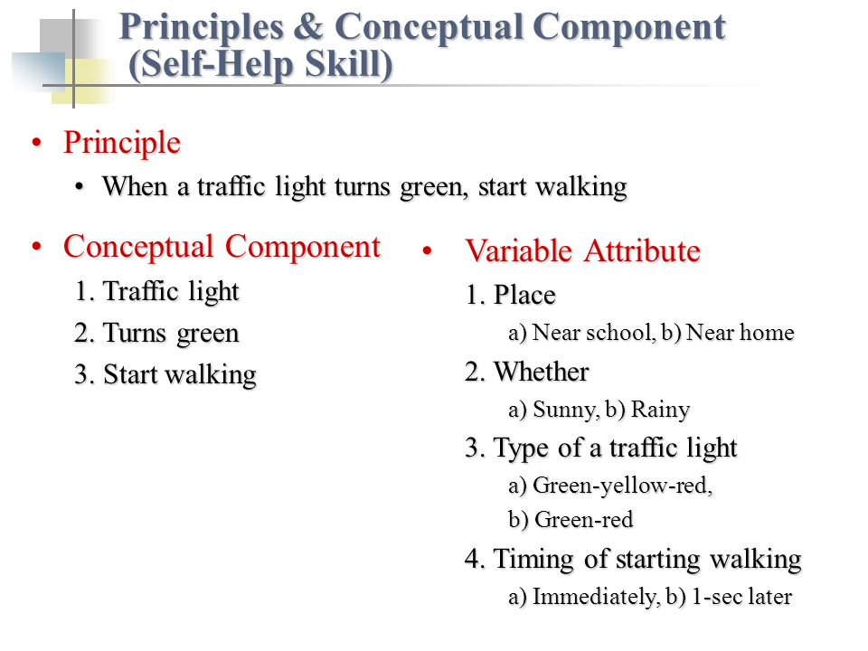 PrinciplePrinciple When a traffic light turns green, start walkingWhen a traffic light turns green, start walking Conceptual ComponentConceptual Component 1.