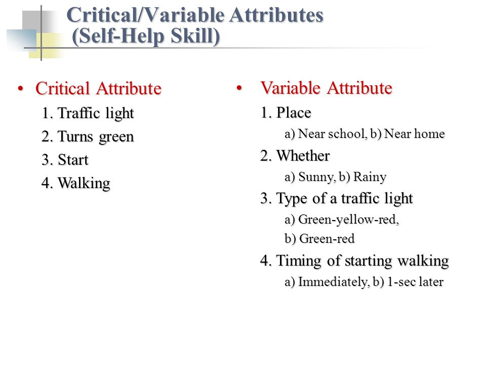 Critical AttributeCritical Attribute 1. Traffic light 2. Turns green 3. Start 4. Walking Critical/Variable Attributes (Self-Help Skill) Variable Attri