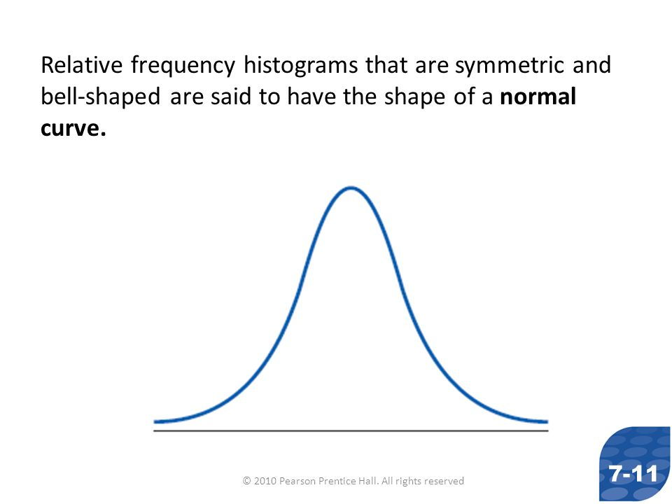 © 2010 Pearson Prentice Hall. All rights reserved Relative frequency histograms that are symmetric and bell-shaped are said to have the shape of a nor