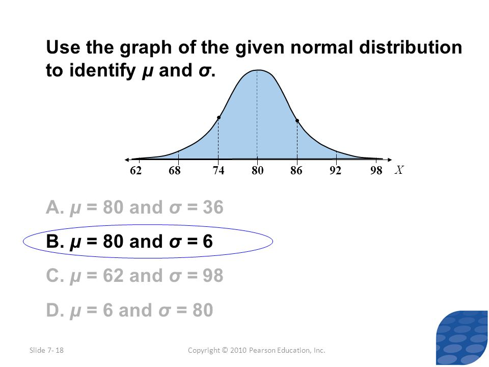 Copyright © 2010 Pearson Education, Inc. Use the graph of the given normal distribution to identify μ and σ. A. μ = 80 and σ = 36 B. μ = 80 and σ = 6