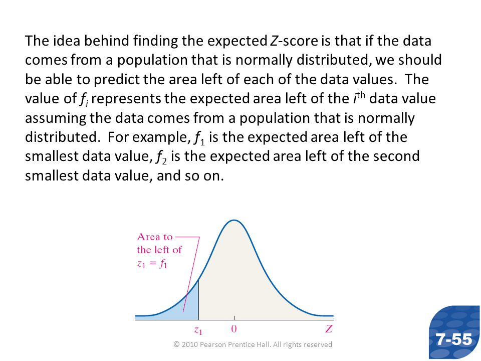 © 2010 Pearson Prentice Hall. All rights reserved The idea behind finding the expected Z-score is that if the data comes from a population that is nor