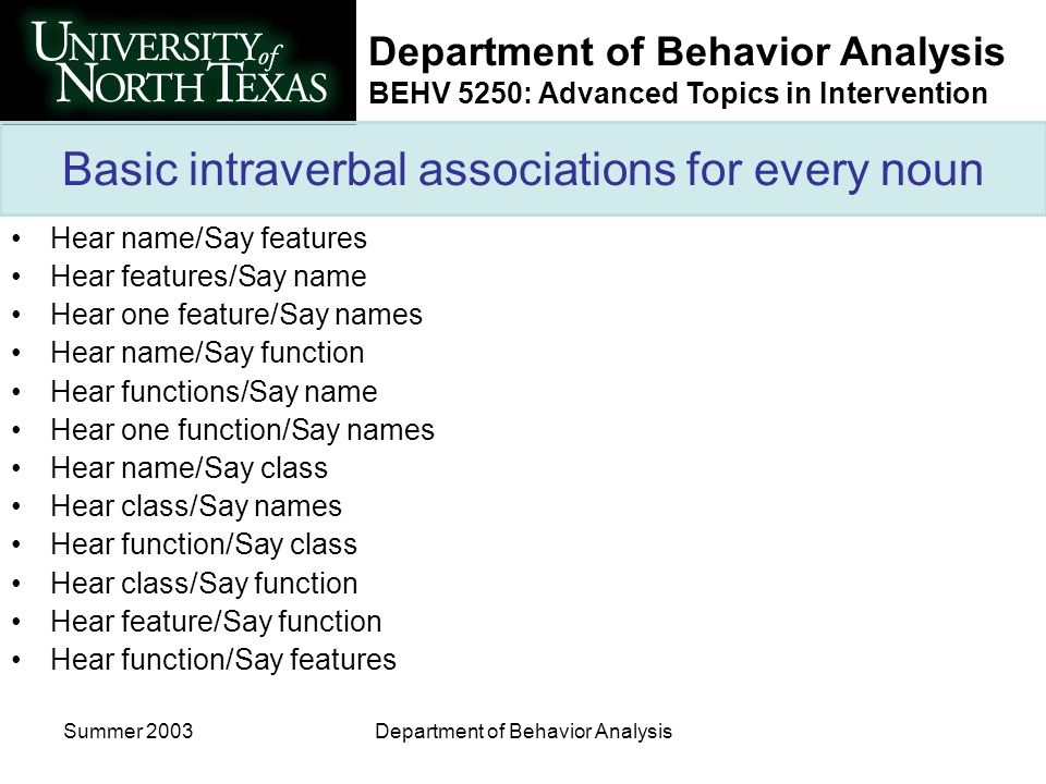 Department of Behavior Analysis BEHV 5250: Advanced Topics in Intervention Summer 2003Department of Behavior Analysis Basic intraverbal associations for every noun Hear name/Say features Hear features/Say name Hear one feature/Say names Hear name/Say function Hear functions/Say name Hear one function/Say names Hear name/Say class Hear class/Say names Hear function/Say class Hear class/Say function Hear feature/Say function Hear function/Say features